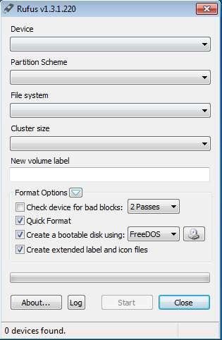 Rufus create bootable USB default window
