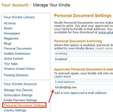 Send To Kindle account setting