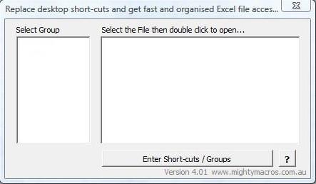 Shortcuts add-in default window