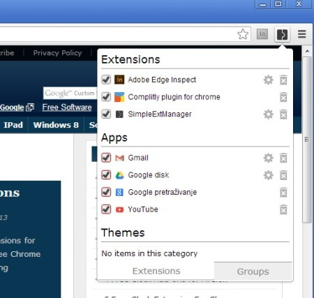 SimpleExtManager Chrome extension manager default window