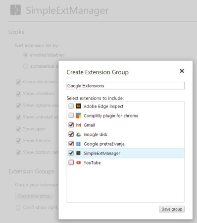 SimpleExtManager grouping