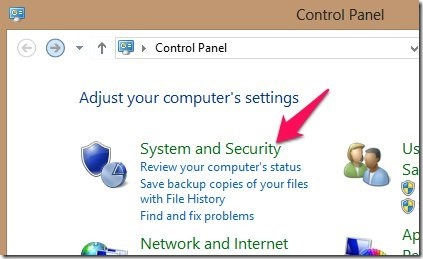 System and Security in windows 8