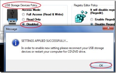 URC Access Modes 02 protect USB drives