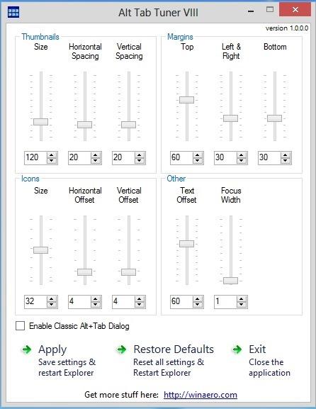 alt tab tuner for windows 8 interface screenshot