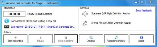 amolto call recorder for skype interface