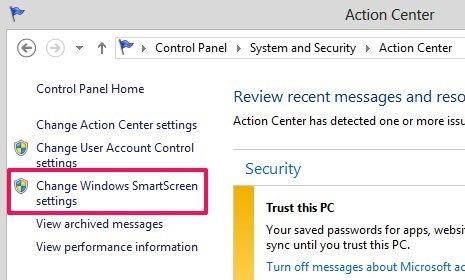 change SmartScreen settings in windows 8