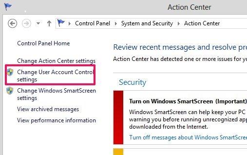 change user account control settings in Windows 8