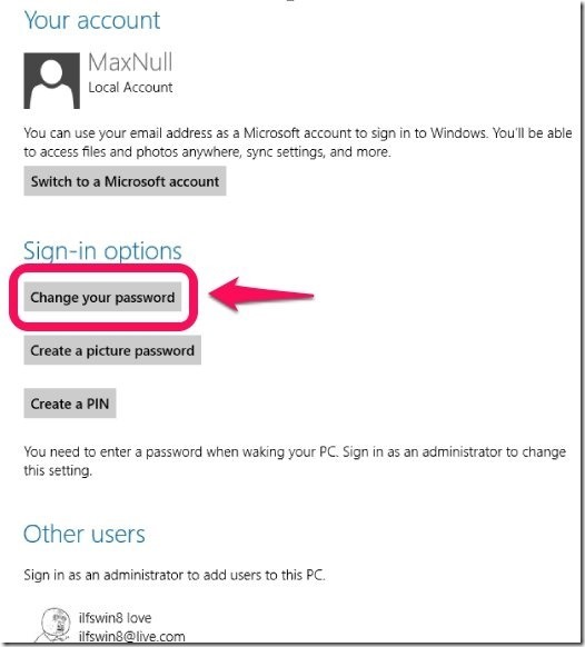changing windows 8 password