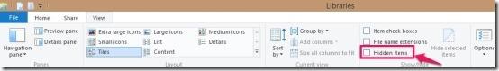 checkbox hidden files in windows 8