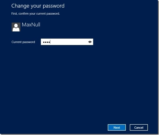 current password windows 8