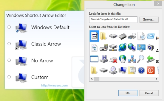 custom image as a shortcut arrow in Windows 8