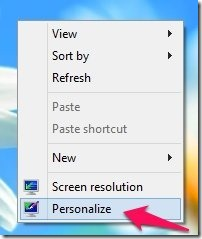 desktop context menu in windows 8
