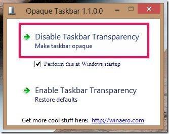 disable transparency in the Windows 8 taskbar