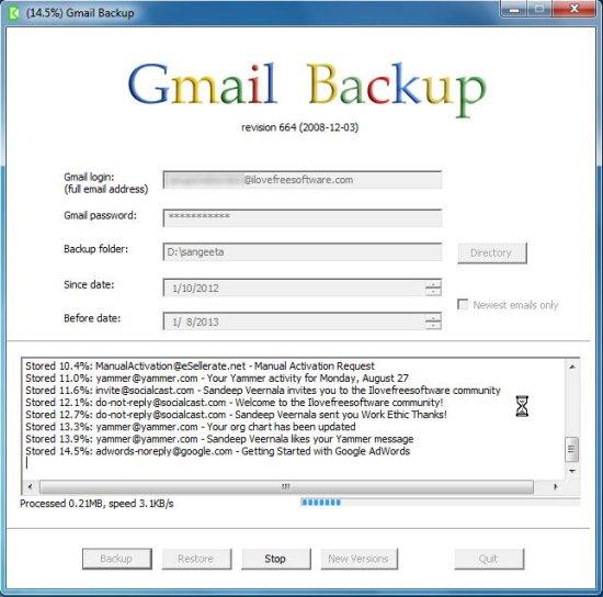 backup gmail using gmail backup