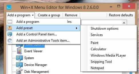 how to cutomize the win x menu in windows 8