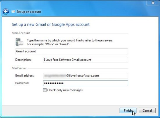mail notifier confgure mail account