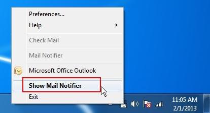 mail notifier context menu
