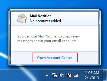 mail notifier open account center