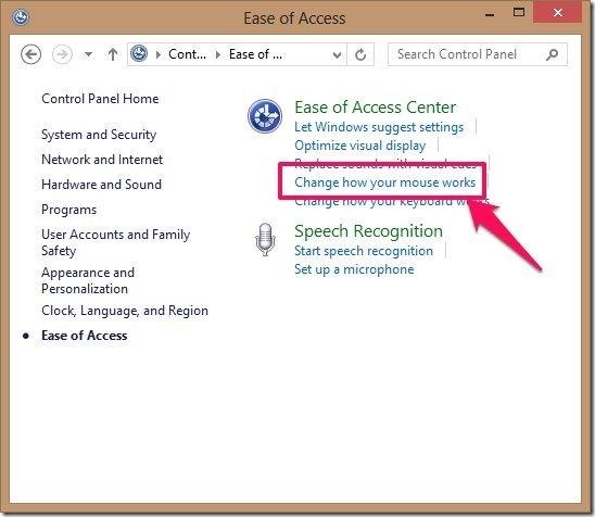 mouse settings in control panel in windows 8