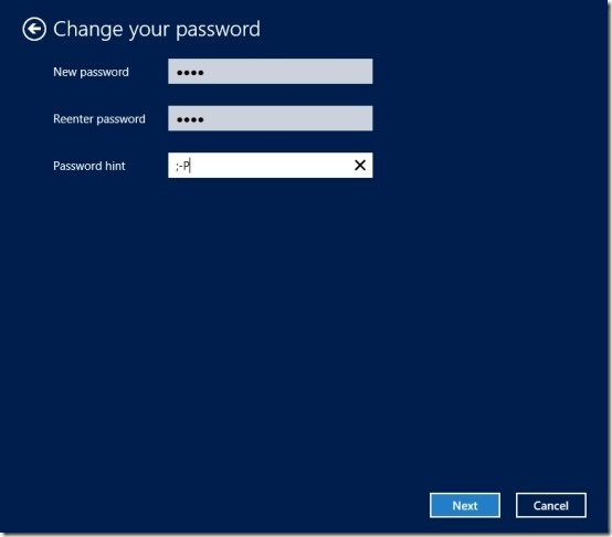 password chnaged in windows 8