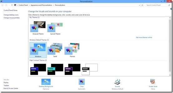 personalization windows 8