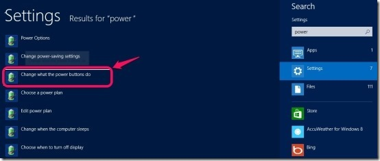power options in Windows 8