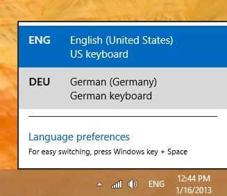 select lagugaue options in windows 8