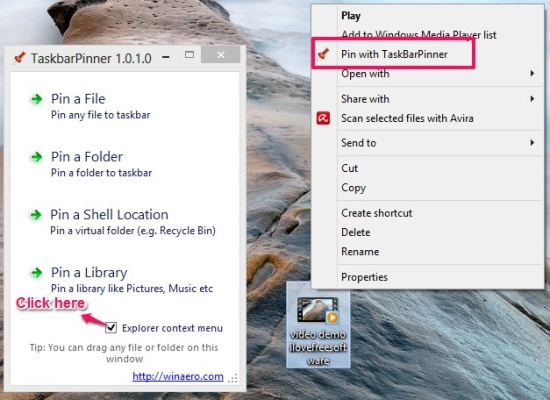 taskbar pinner context menu