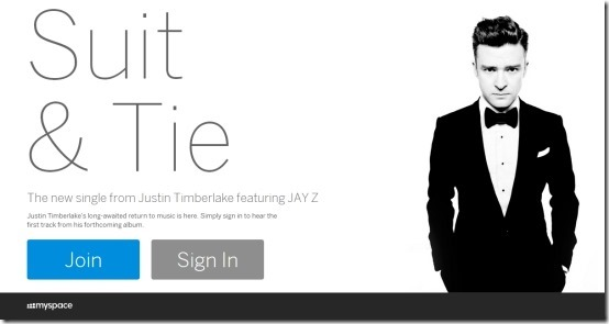 the new myspace login page