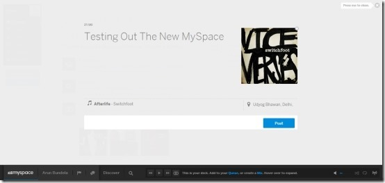 update status in new myspace
