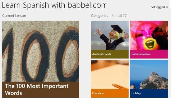 windows 8 app to learn spanish