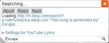 youtube lyrics extension searching