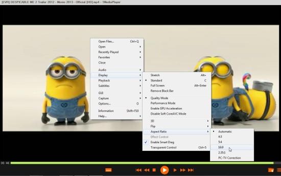 1mediaplayer display settings