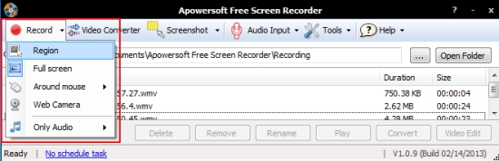 Apowersoft Screen Recorder recording options