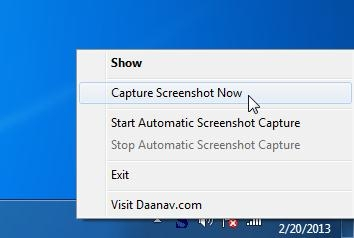 Automatic Screenshot Capture Software system try menu