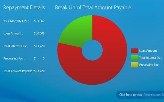 Bank Loan Calculator  windows 8 payment details