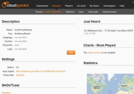 Cloudspeaker online radio streaming default window