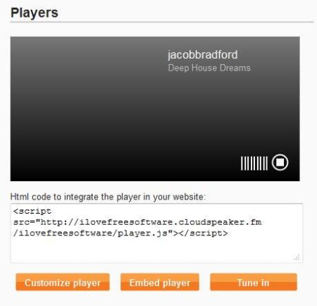Cloudspeaker players setup