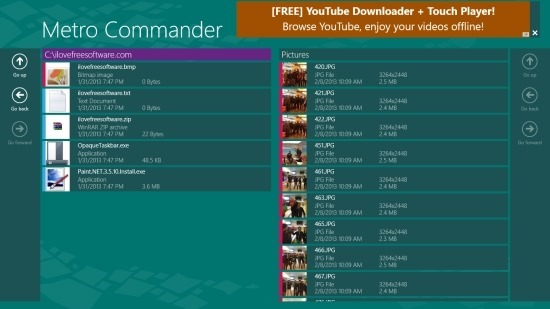 Dual Panel File Manager For Windows 8 Metro Commander