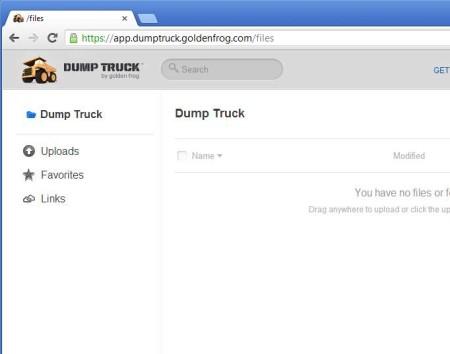 Dump Truck free online storage service default window