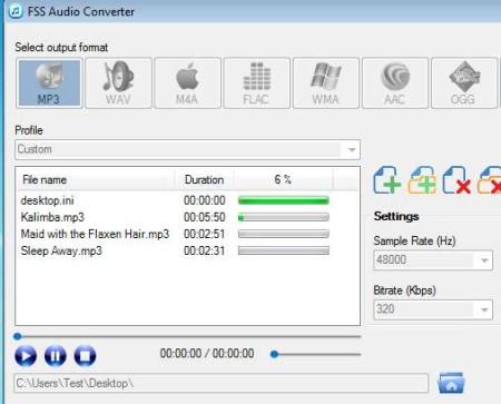 FSS Audio Converter working conversion