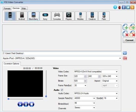 free batch video conversion software settings open