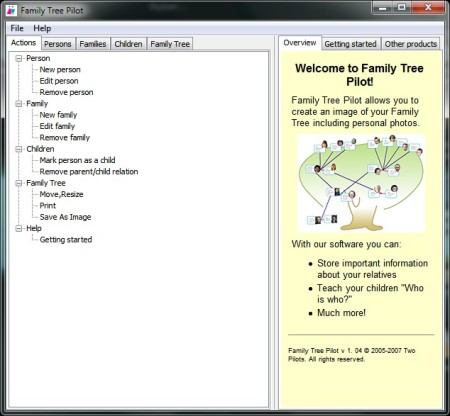 Family Tree Pilot default window