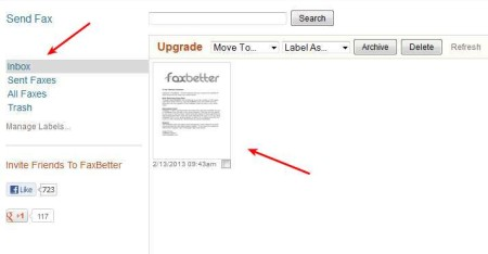 FaxBetter inbox shown