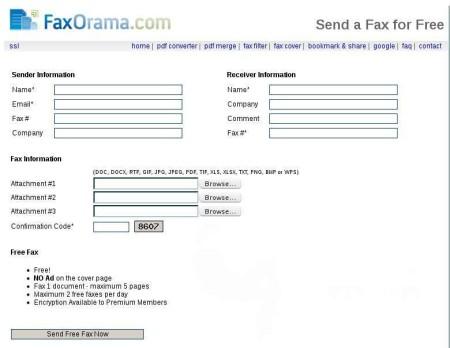 FaxOrama send fax online default window