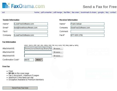 FaxOrama filled out