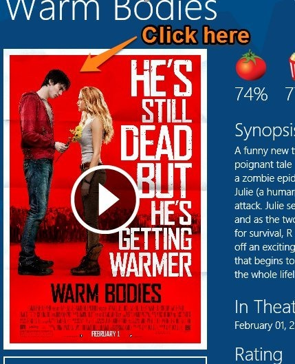 Flixster For Windows 8 how to watch trailer