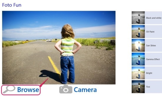 FotoFun interface