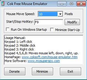 Free Mouse Emulator default window
