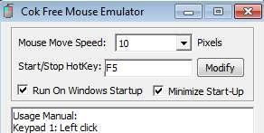 Free Mouse Emulator settings